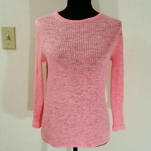 J.Crew Ribbed Pink Crewneck Italian Blend Sweater